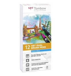 Tombow 12 ABT Dual Brush Pennen Primary