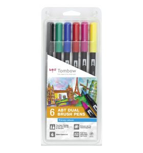 Tombow 6 ABT Dual Brush Pennen Primary