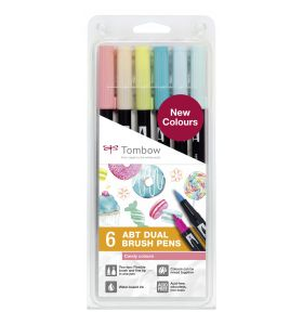 Tombow 6 ABT Dual Brush Pennen candy colours