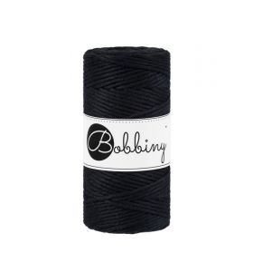 Bobbiny macrame koord 3 mm - black