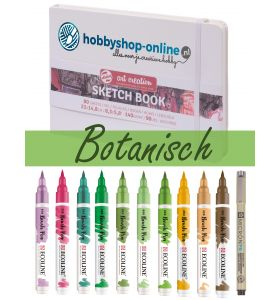 Ecoline Brush Pen set Botanisch + schetsboek + PN