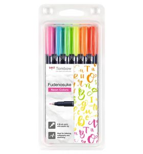 Fudenosuke brush pen hard set neon 6 stuks