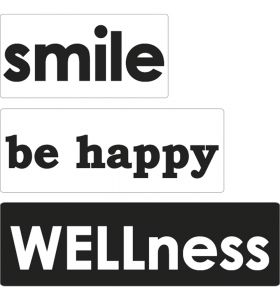 Labels Smile, be happy, WELLness
