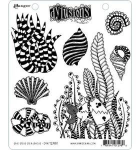 Dylusions cling mount stamp set - She sells sea shells