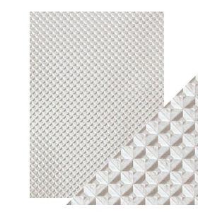 Hand crafted cotton papers - silver chequer 5 vel
