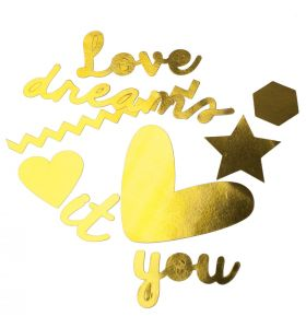 Love It gold paper die-cuts x12