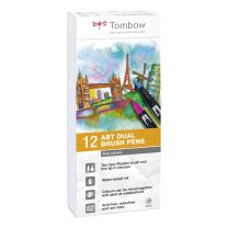 Tombow 12 ABT Dual Brush Pennen Grey colours