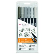 Tombow 6 ABT Dual Brush Pennen gray colours