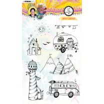 Clear stamp A5 Happy holiday- Marlene's world nr. 65