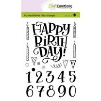 Clearstamps A6 handlettering - Happy Birthday & numbers, Carla Kamphuis
