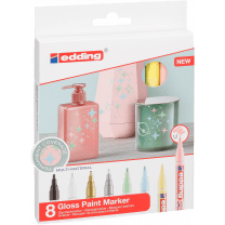Edding 751 glanslak-markers assorti set 8 kleuren