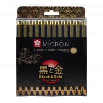 Pigma Micron set 10 + 2 fineliners Black & Gold edition