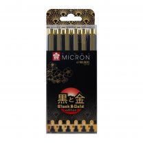 Pigma Micron set 6 fineliners Black & Gold edition